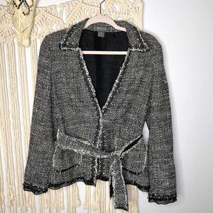Ann Taylor // Tweed Tie Waist Jacket